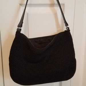 Sak Crochet Shoulder Bag Trim Black